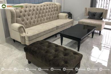 Mẫu ghế sofa vải nỉ kiểu tân cổ điển đẹp mã 78