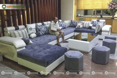 Bộ ghế sofa vải nỉ kiểu chữ u mã 79