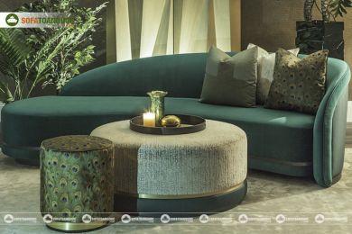 Mẫu ghế sofa vải cong hình bán nguyệt mã 86