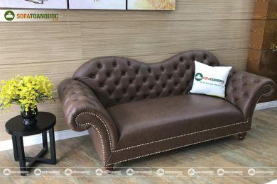 Mẫu ghế sofa văng da phong cách bán cổ điển