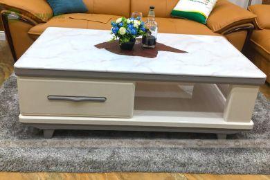 Bàn sofa màu trắng mặt đá nhập khẩu mã 6413