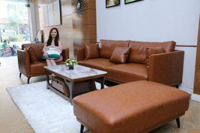 Bộ bàn ghế sofa da 3 món sang trọng mã M-06