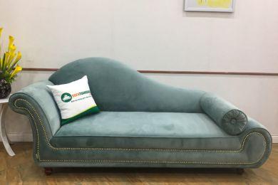 Mẫu ghế dành cho phòng ngủ thư giãn bọc nỉ nhung màu xanh ngọc mã 43