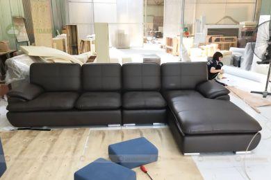 Mẫu ghế sofa góc phòng khách bọc da màu đen đẹp mã m02