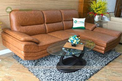 Mẫu sofa đẹp giá rẻ cho phòng khách màu da bò nâu đốm mã m01b