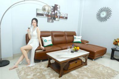 Mẫu sofa đẹp phòng khách góc chữ l màu nâu mã m04
