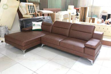 Mẫu ghế sofa da giá rẻ góc l chân inox mã 205