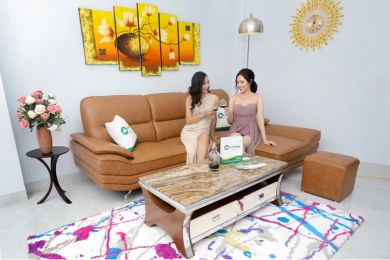 Mẫu ghế sofa da cao cấp giá rẻ chân inox mã m01