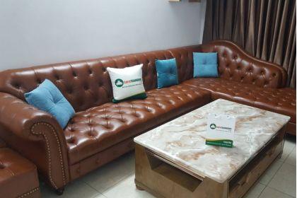 Bàn giao mẫu ghế sofa da thật tân cổ điển 100% bác My Thanh Trì Hà Nội