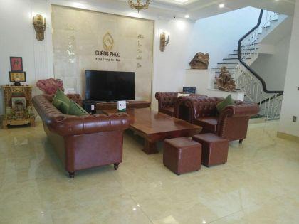 Bàn giao bộ ghế sofa da màu nâu tân cổ điển Công ty Dược Quảng Phúc - Ba Vì - Hà Nội