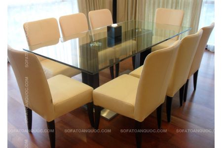 Bộ bàn ghế ăn bọc vải 8 ghế mặt kính mã 09