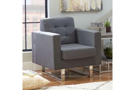 Mẫu ghế sofa đơn cho văn phòng bọc vải chân inox mã 08