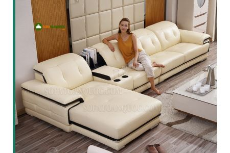 Bộ Ghế sofa da với chỗ để cốc mã 11 điểm cộng cho chất lượng