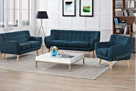 Bộ bàn ghế sofa vải nỉ bé vừa nhỏ bọc vải bộ 1-2-2 màu xanh ngọc cho phòng khách mã 31