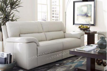 Ghế sofa văng bọc da màu trắng cho phòng khách đẹp mã 30
