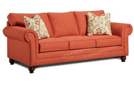 Ghế sofa văng bọc vải màu đỏ cam cho phòng khách mã 42