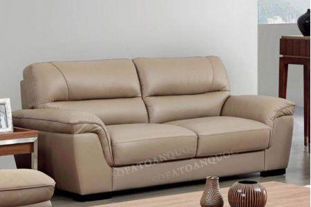 Ghế sofa văng da PU màu nâu cafe nhạt kiểu dáng sang trọng mã 75