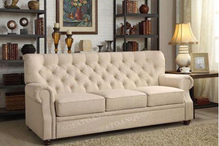 Ghế sofa văng dài bọc vải màu kem cho phòng khách chung cư, phòng khách nhà ống mã 78