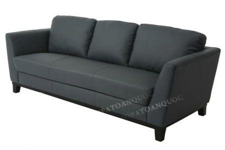 Ghế sofa văng da màu đen cho phòng khách dài, hẹp, nhà ống mã 80
