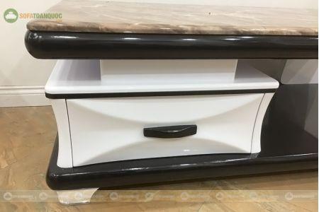 Bàn trà sofa đen trắng đen mặt đá vân gỗ mã A22