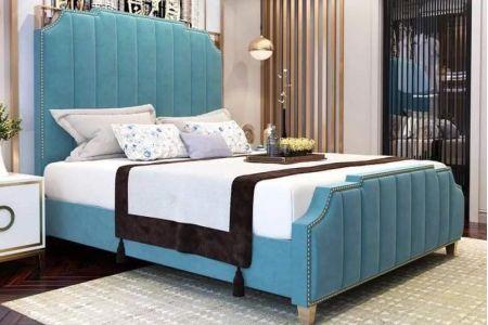 Giường ngủ vải màu xanh mã 76