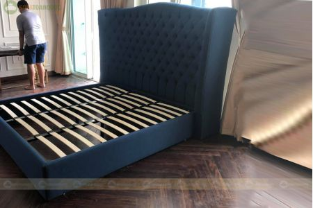 Giường vải màu xanh dương tân cổ điển 2100mm mã 85