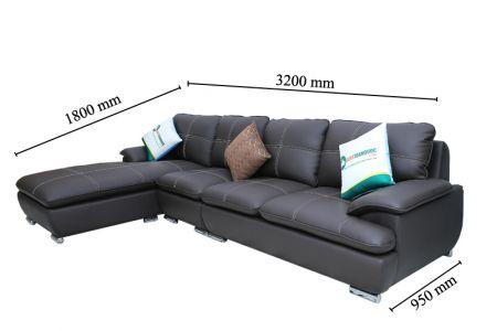Mẫu sofa 3 mét 2 bọc da màu đen cho phòng khách mã M02B