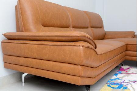 Sofa da cao cấp giá rẻ chữ l chân inox mã M01