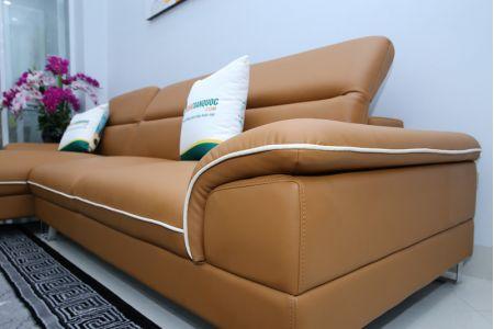 Mẫu sofa đẹp màu da bò viền trắng mã M10