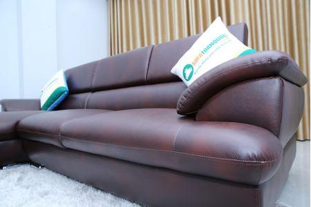 Mẫu sofa góc tựa gật gù chân inox mã TN-01B
