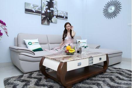 Sofa da màu trắng đẹp viền nâu mã M07B