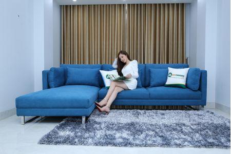 Sofa vải màu xanh tựa rời góc l chân inox mã MV01
