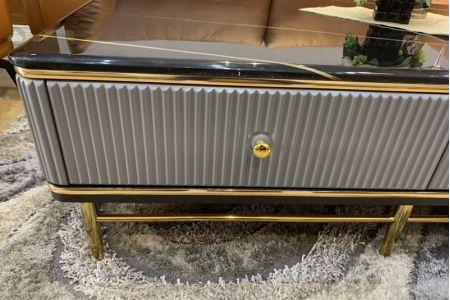 Bàn trà mạ vàng mặt đá nhập khẩu mã BT974