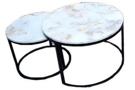 Bàn trà mặt đá tròn đôi xếp chồng chân sắt sơn tĩnh điện mã 130