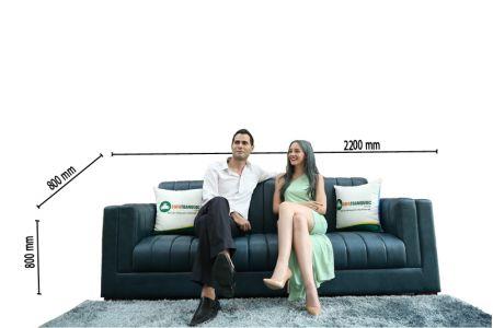 Sofa văng da thật cao cấp màu xanh dương mã 187