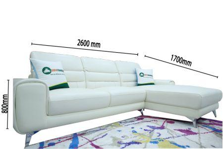 Sofa màu trắng bọc da thật Brazil 2600mm mã M14