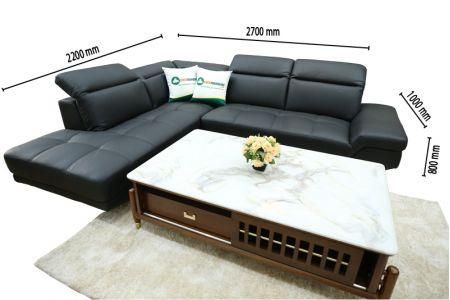 Mẫu ghế sofa da bò thật Malaysia nhập khẩu màu đen 2700mm mã ML01