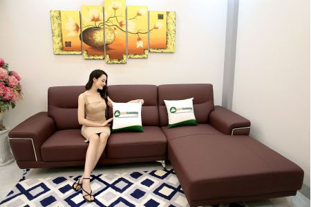 Sofa góc chữ l trài bọc da màu đỏ mận mã m19-3