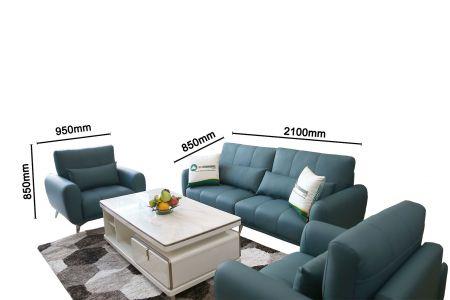 Mẫu bàn ghế phòng khách bọc da cao cấp màu xanh mã M20