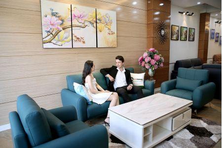 Bộ bàn ghế phòng khách gồm 2 đơn và 1 ghế văng màu xanh cổ vịt M20-1