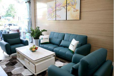 Bộ bàn ghế phòng khách gồm 2 đơn và 1 ghế văng màu xanh cổ vịt M20-3