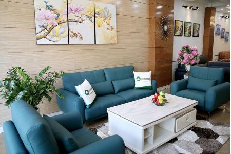 Bộ bàn ghế phòng khách gồm 2 đơn và 1 ghế văng màu xanh cổ vịt M20-4