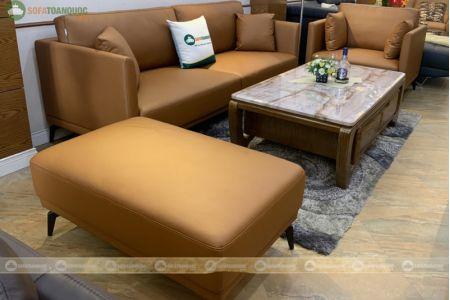 Bộ bàn ghế sofa da boss ý cao cấp màu da bò mã m06c-2