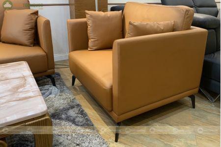 Bộ bàn ghế sofa da boss ý cao cấp màu da bò mã m06c-5