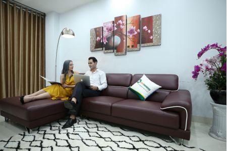 Mẫu sofa màu tím bọc da thật Brazil mã M15