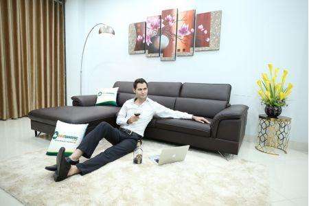 Mẫu sofa màu cafe đẹp bọc da Boss Ý mã M12B