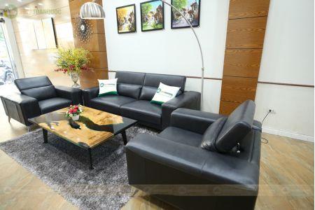 Bộ ghế sofa da thật màu đen 3 món mã M16