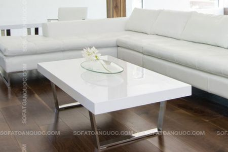 mẫu bàn sofa gỗ trắng chân inox mã 08