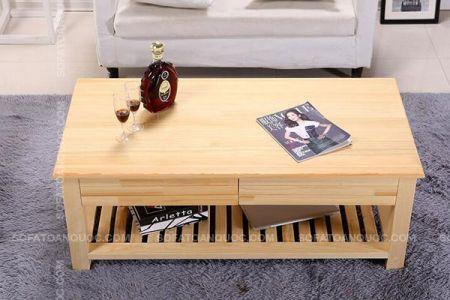 Mẫu bàn trà gỗ cao su ghép thanh bền đẹp giá rẻ mã 26