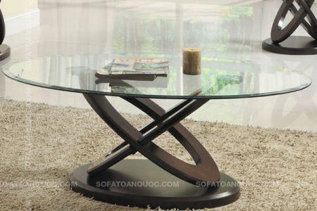 Mẫu bàn trà sofa tròn mặt gương kính mã 39